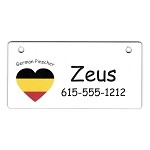German Pinscher Heart Flag Crate Tag Personalized With Your Dog's Name